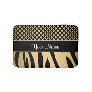 Black and Gold Metallic Animal Stripes Bath Mat