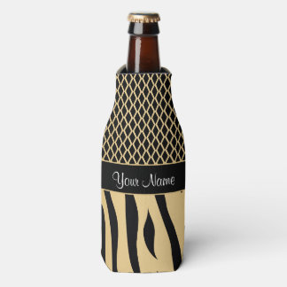 Black and Gold Metallic Animal Stripes Bottle Cooler