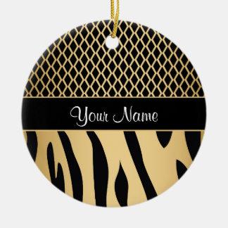 Black and Gold Metallic Animal Stripes Ceramic Ornament