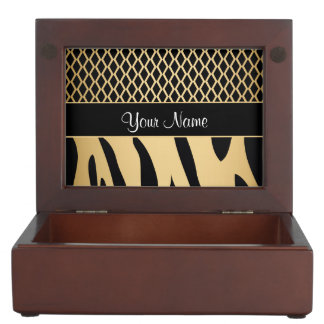 Black and Gold Metallic Animal Stripes Keepsake Box