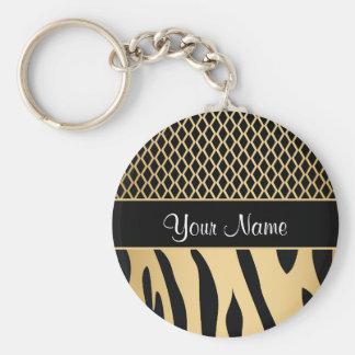 Black and Gold Metallic Animal Stripes Key Ring