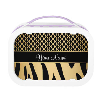 Black and Gold Metallic Animal Stripes Lunch Box