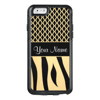 Black and Gold Metallic Animal Stripes OtterBox iPhone 6/6s Case
