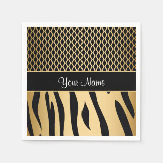 Black and Gold Metallic Animal Stripes Paper Serviettes
