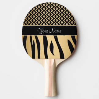 Black and Gold Metallic Animal Stripes Ping Pong Paddle