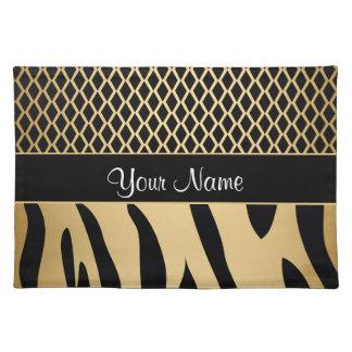 Black and Gold Metallic Animal Stripes Placemat