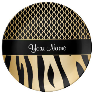 Black and Gold Metallic Animal Stripes Plate