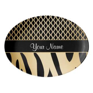 Black and Gold Metallic Animal Stripes Porcelain Serving Platter