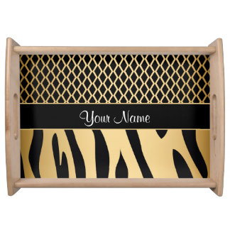 Black and Gold Metallic Animal Stripes Serving Tray
