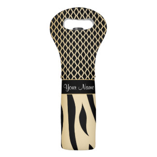 Black and Gold Metallic Animal Stripes Wine Bag
