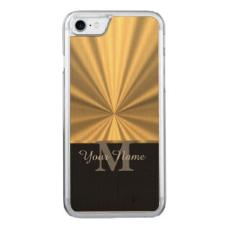 Black and gold metallic monogram carved iPhone 7 case