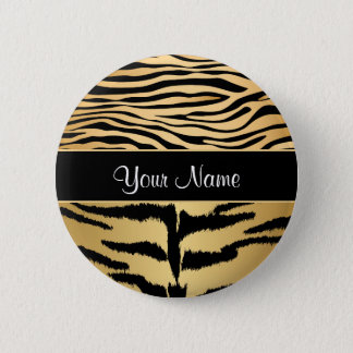 Black and Gold Metallic Tiger Stripes Pattern 6 Cm Round Badge