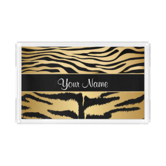 Black and Gold Metallic Tiger Stripes Pattern Acrylic Tray