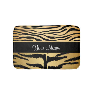 Black and Gold Metallic Tiger Stripes Pattern Bath Mat