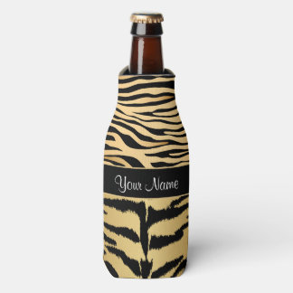 Black and Gold Metallic Tiger Stripes Pattern Bottle Cooler
