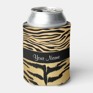 Black and Gold Metallic Tiger Stripes Pattern Can Cooler