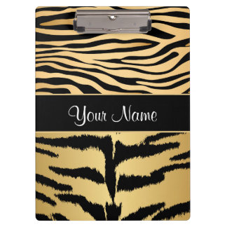 Black and Gold Metallic Tiger Stripes Pattern Clipboard
