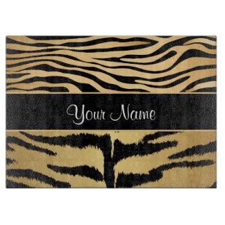 Black and Gold Metallic Tiger Stripes Pattern Cutting Board