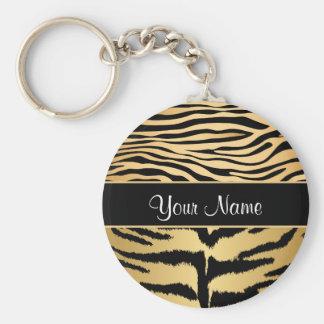 Black and Gold Metallic Tiger Stripes Pattern Key Ring