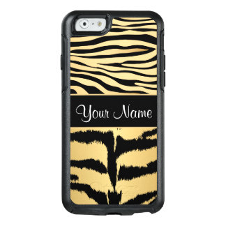Black and Gold Metallic Tiger Stripes Pattern OtterBox iPhone 6/6s Case