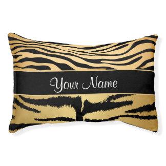 Black and Gold Metallic Tiger Stripes Pattern Pet Bed
