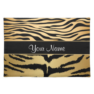 Black and Gold Metallic Tiger Stripes Pattern Placemat