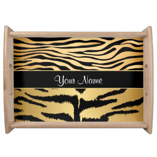 Black and Gold Metallic Tiger Stripes Pattern Serving Tray