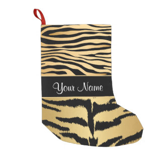Black and Gold Metallic Tiger Stripes Pattern Small Christmas Stocking