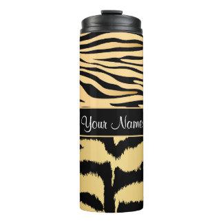 Black and Gold Metallic Tiger Stripes Pattern Thermal Tumbler