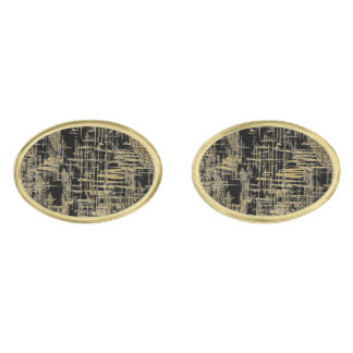 Black and Gold Modern Art Gold Finish Cuff Links