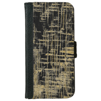 Black and Gold Modern Art iPhone 6 Wallet Case