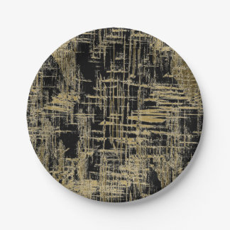 Black and Gold Modern Art Paper Plate