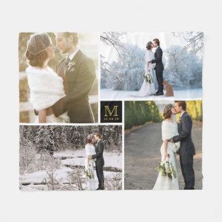 Black and Gold Monogram 4 Photo Collage Wedding Fleece Blanket