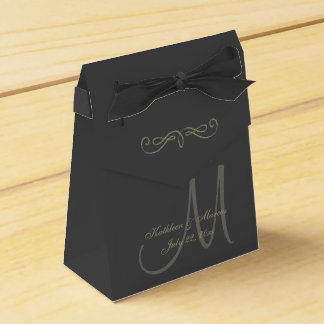 Black and Gold Monogram Favour Box