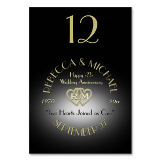 Black and Gold Monogram Table Number