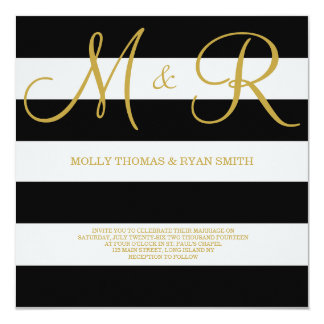Black and Gold Monogram Wedding Invitation