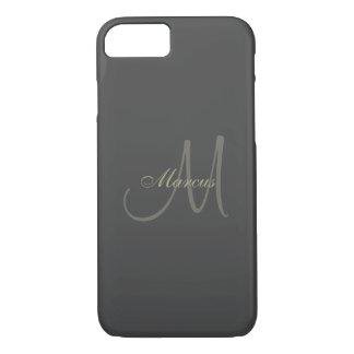 Black and Gold Monogram Wedding iPhone 8/7 Case
