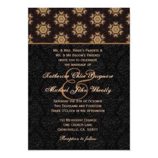 Black and Gold Monogram Wedding Template H672 13 Cm X 18 Cm Invitation Card