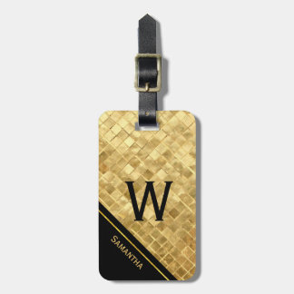 Black and Gold Monogrammed Luggage Tag