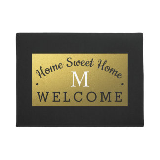 Black And Gold Monogrammed Welcome Doormat