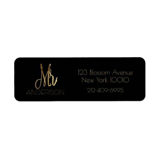 Black and Gold Mr Elegant Typography Script Return Address Label