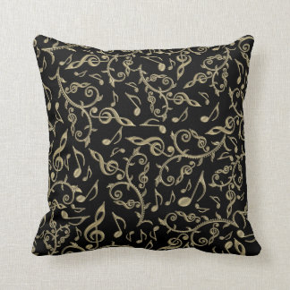 Black and Gold Music Notes and Clefs Throw Pillow