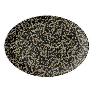 Black and Gold Music Notes Floral Porcelain Serving Platter