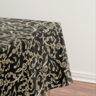 Black and Gold Music Notes Floral Tablecloth