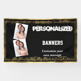 Black and gold musical notes banner