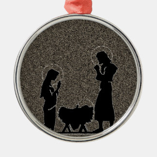 Black and Gold Nativity Textured Christmas Ornaments