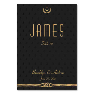 Black And Gold Nautical Wedding Table Place Cards