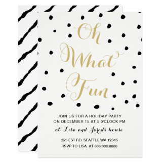 black and gold Oh what Fun holiday Party Card