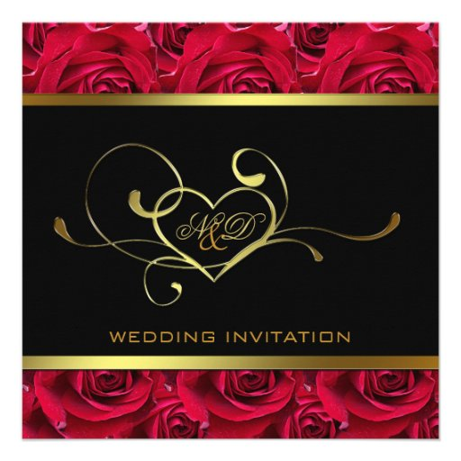 Black and Gold on Red Roses Wedding Invitation