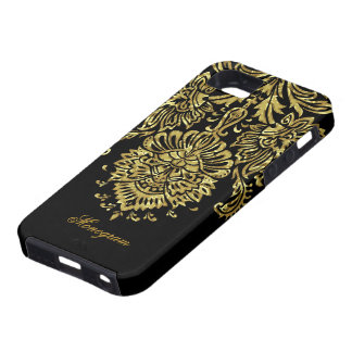 Black And Gold Ornate Floral Damasks Pattern iPhone 5 Cover